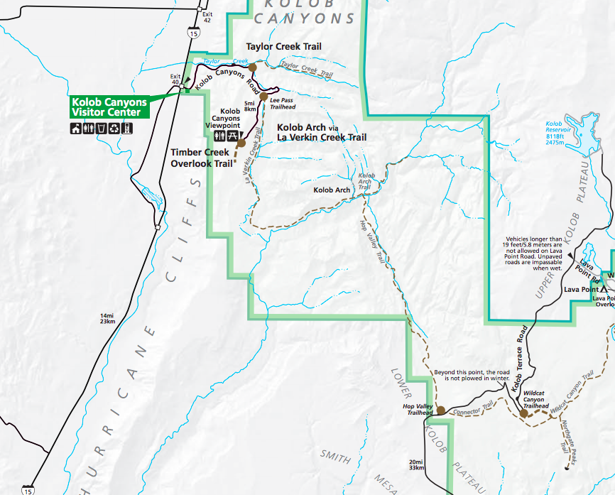 Kolob Arch Trail Map - Hop Valley & La Verkin Creek