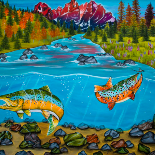 Colorado Rockies & Fish Painting