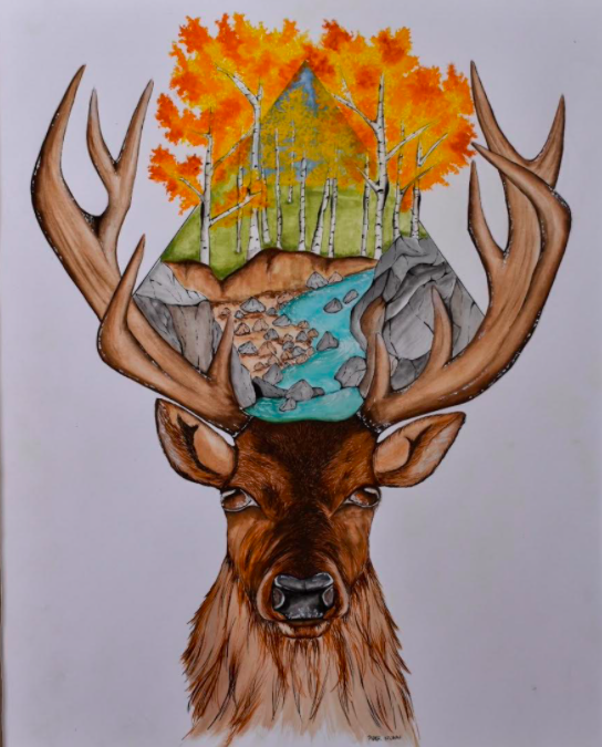 Fall Stag Head Painting By Piper Nunn