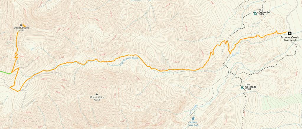 Mount Antero Trail Map - Browns Creek Trail