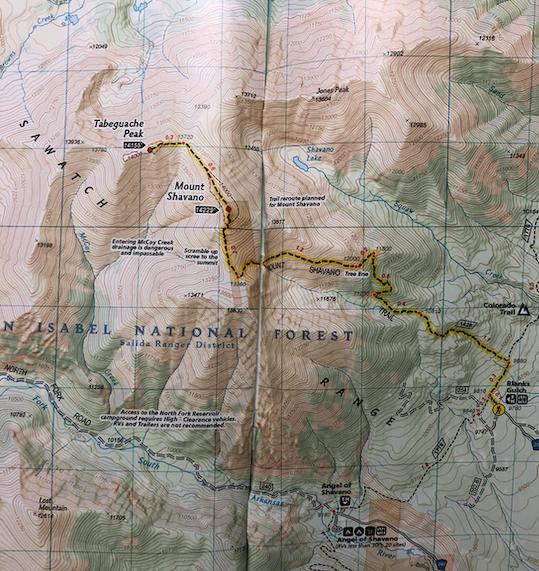 Mount Shavano Trail Map